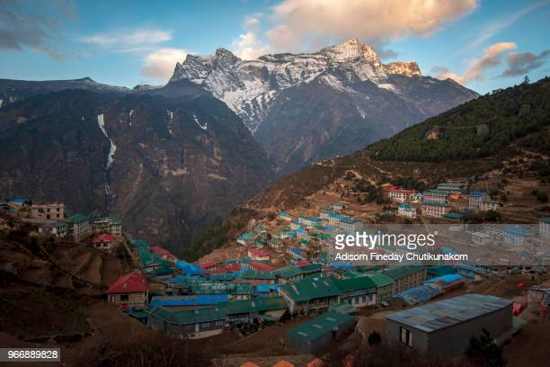 View of Namche Bazaar in the morning, Nepal