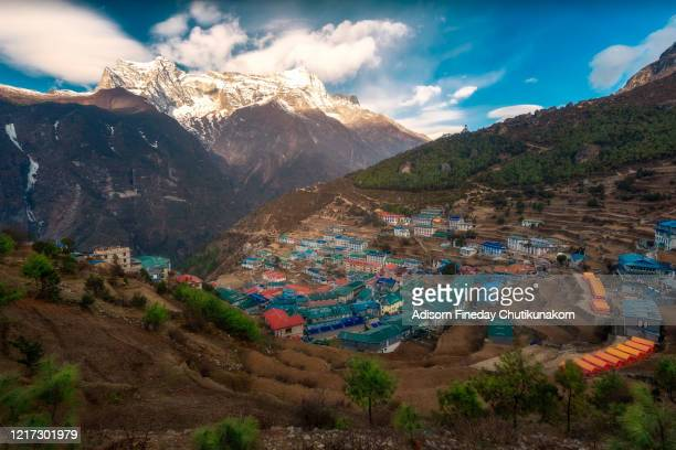 view of namche bazaar, nepal - khumbu stock pictures, royalty-free photos & images