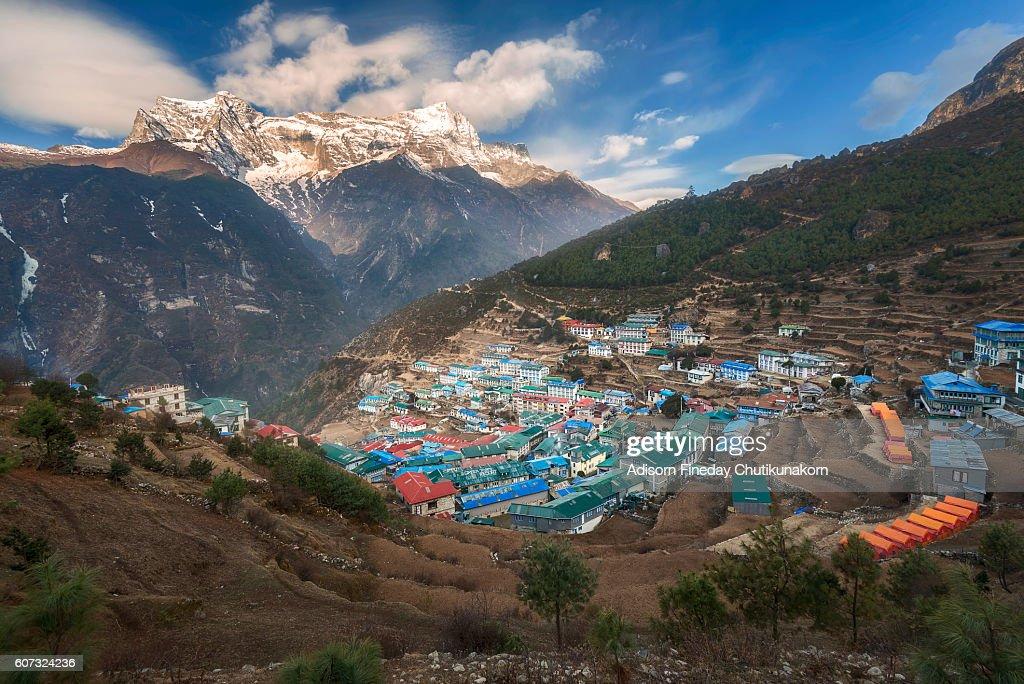 View of Namche Bazaar, Nepal : Stock Photo