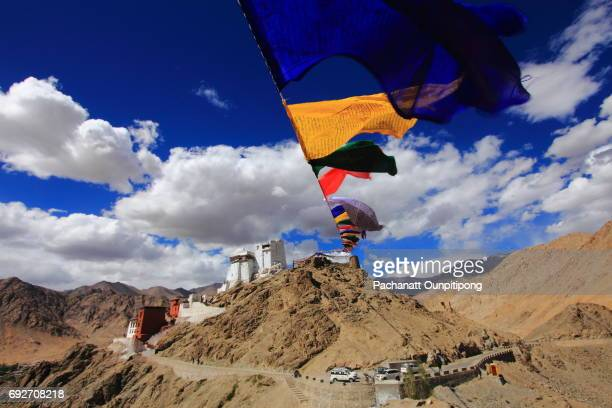 view of namgyal tsemo monastery, leh, ladakh, india - india china border stock pictures, royalty-free photos & images