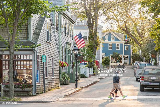 view of nantucket village - nantucket stock pictures, royalty-free photos & images