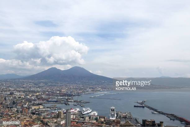 A view of Naples and the Vesuvius volcano southern Italy from castle of saint Elmo