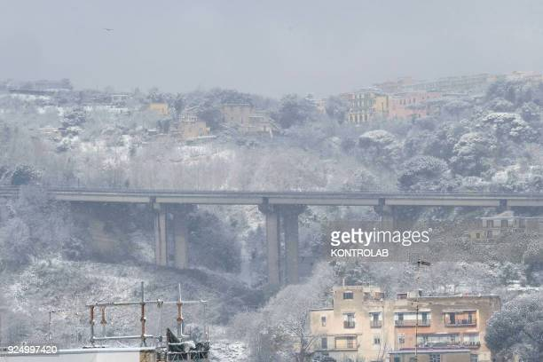 A view of Naples during the extraordinary snowfall that has whitened the city Bad weather comes from the Siberian region and has been called Burian