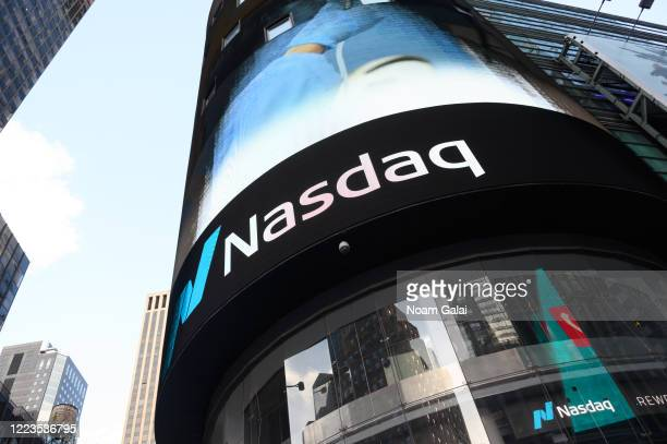 A view of NASDAQ in Times Square during the coronavirus pandemic on May 7 2020 in New York City COVID19 has spread to most countries around the world...