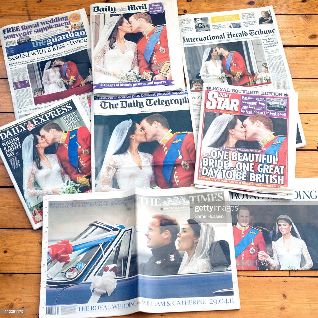 A view of national newspapers the day following the the wedding of Their Royal Highnesses Prince William Duke of Cambridge and Catherine Duchess of Cambridge, April 30, 2011 in London, England.