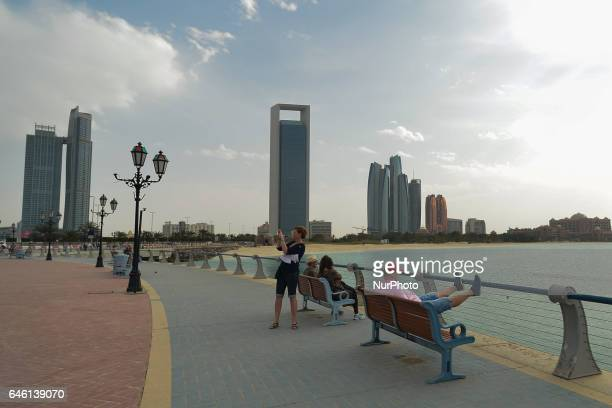 A view of Nations Towers ADNOC Headquarters and Etihad Towers from Abu Dhabi Marina On Friday February 24 in Abu Dhabi UAE