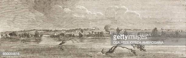 View of Nauvoo Mormon settlement Illinois United States of America drawing by FrancoisFortune Ferogio from a sketch by Jules Remy from The City of...