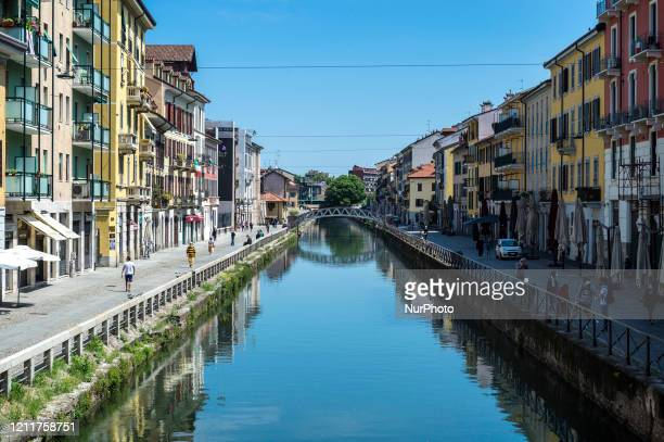 A view of Navigli area in Milan Italy on May 4 2020 Italy began stirring again Monday after a twomonth coronavirus shutdown with 44 million Italians...