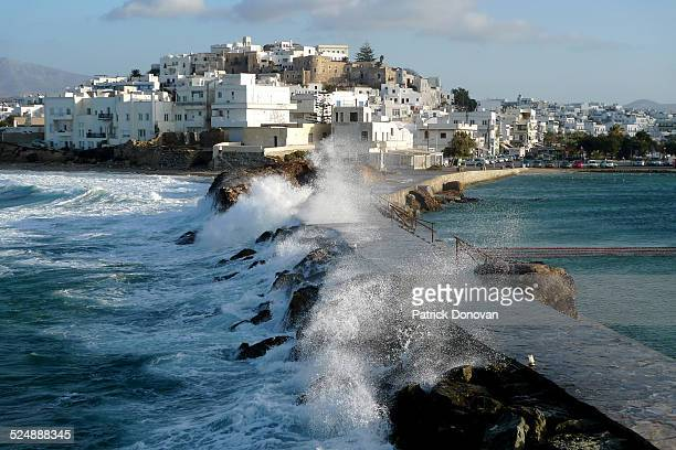 view of naxos city, greece - naxos stockfoto's en -beelden
