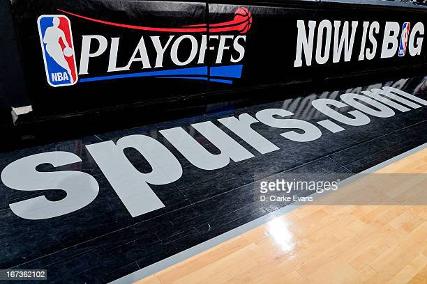 A view of NBA Playoffs logo on the side of the court before the Los Angeles Lakers play the San Antonio Spurs in Game Two of the Western Conference...