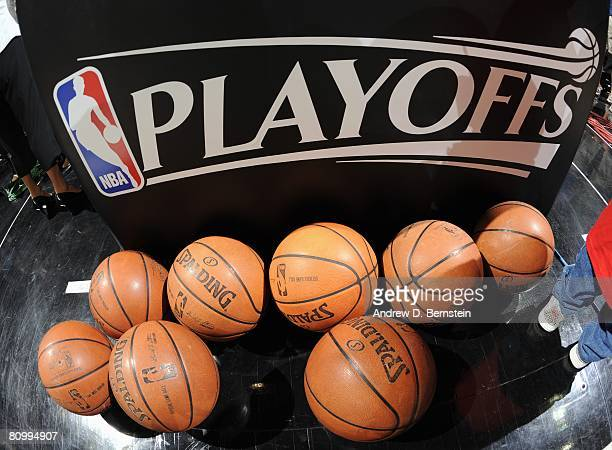 View of NBA playoffs signage displayed on the court in Game Five of the Western Conference Quarterfinals between the Phoenix Suns ands the San...