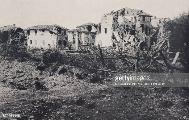 View of Nervesa after the clash on June 23 Battle of Piave Italy World War I from l'Illustrazione Italiana Year XLV No 26 June 30 1918