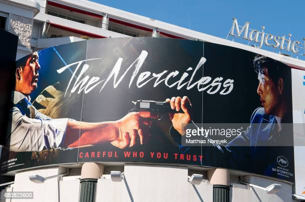 A view of Netflix 'The Merciless' film signage during the 70th annual Cannes Film Festival at on May 16 2017 in Cannes France