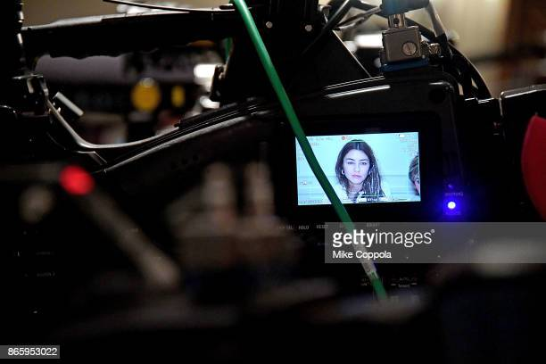 A view of new alleged victim of Harvey Weinstein Mimi Haleyi on a video monitor during a press conference held by Attorney Gloria Allred at Lotte New...