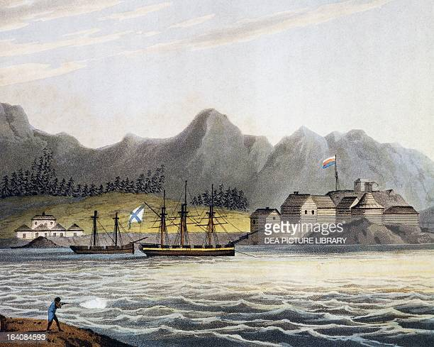 View of New Archangel now Sitka engraving by Clark from painting by Yuri Fyodorovich Lisyansky from the report of the first circumnavigation of the...