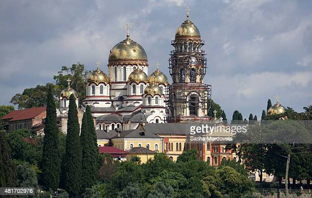A view of New Athos Monastery on July 22 2015 in New Athos Abkhazia Football teams from rebel republics and separatist regions will gather in...