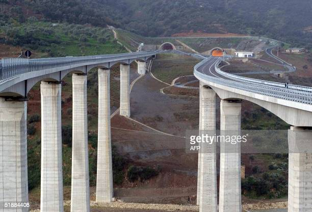 View of new constructions on the highway between Messina and Palermo that the Italian Prime Minister Silvio Berlusconi inaugurated 21 December 2004...