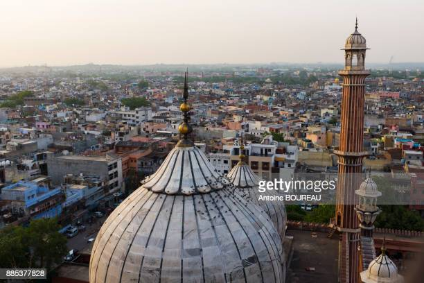 View of New Delhi from the minaret of the Great Mosque of Delhi, India