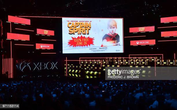 View of new games unveiled at the Xbox 2018 E3 briefing in Los Angeles California on June 10 2018 ahead of the 24th Electronic Entertainment Expo...