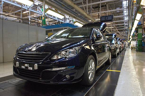 A view of new Peugeot 308 cars by French car maker PSA Peugeot ...