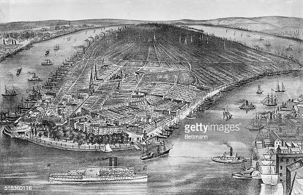 View of New York City showing Battery and clear rendering of East River