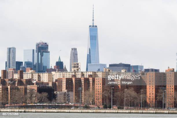View of New York City skyline over Hudson River in New York on March 1 2017