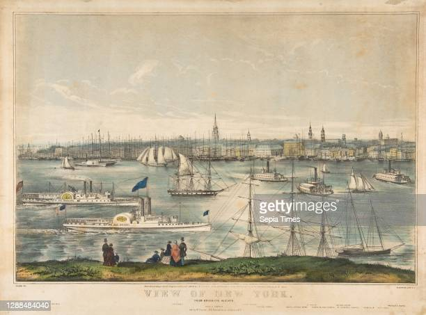 View of New York from Brooklyn Heights Hand-colored lithograph, image: 11 5/16 x 16 7/8 in. , Prints, Frances Flora Bond Palmer .