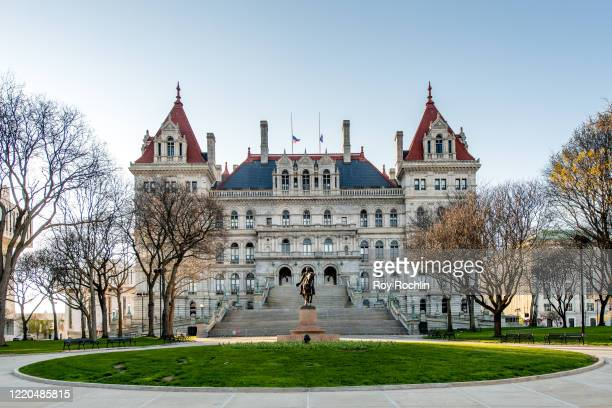 A view of New York State Capitol Building and office of Governor Andrew Cuomo at the Empire State Plaza on April 22 2020 in Albany New York The...