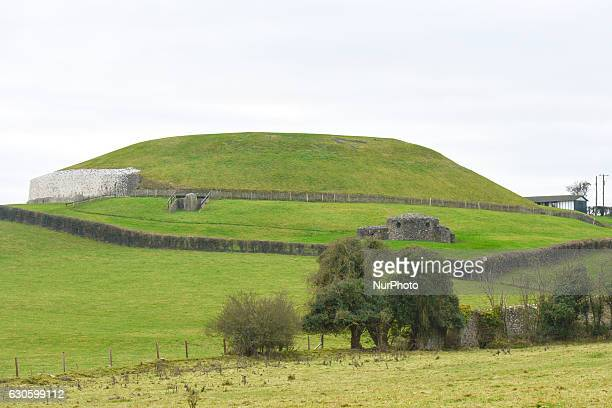 A view of Newgrange's elevation a prehistoric monument in County Meath On Monday 26 December 2016 in Newgrange County Meath Ireland