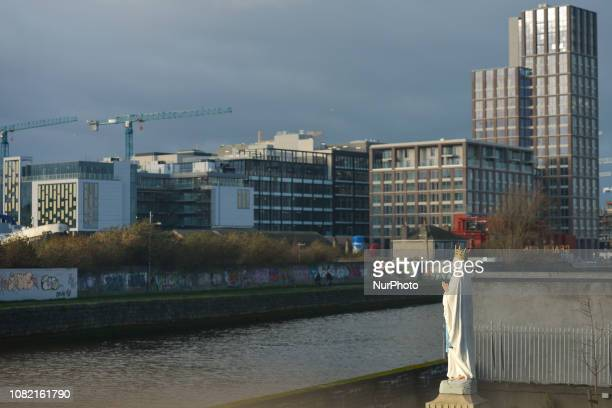 A view of newly constructed office blocks near a Quay on the banks of the River Liffey seen from Irishtown in Dublin In two days a historic vote on...