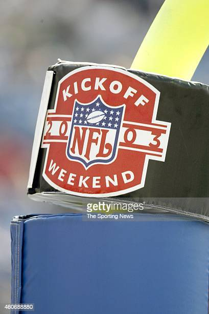 View of NFL kickoff Logo during a game between the Buffalo Bills and the New England Patriots on September 7 2003 at Ralph Wilson Stadium in Orchard...