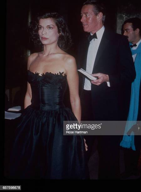 View of Nicaraguan model and actress Bianca Jagger and fashion designer Halston as they attend a Costume Institute gala at the Metropolitan Museum of...