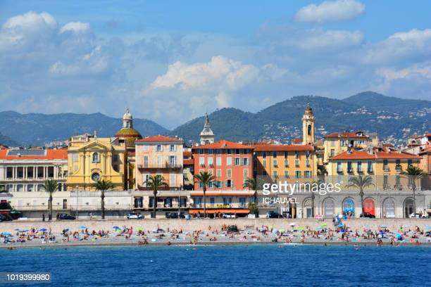 view of nice city france - france stock-fotos und bilder