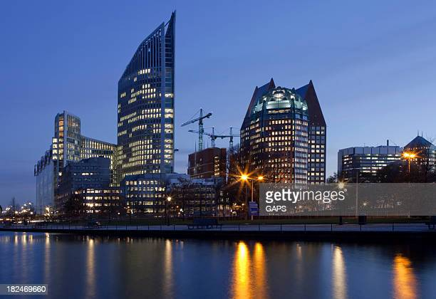 view of night falling over at the hagues architecture - hague stock photos and pictures