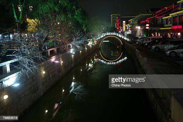 A view of night scene along a canal is seen at the old urban area of Suzhou on February 20 2008 in Suzhou of Jiangsu Province China Suzhou first...