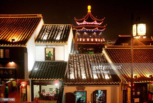 A view of night scene at the old Shantang area of Suzhou during the Lantern Festival on February 21 2008 in Suzhou of Jiangsu Province China Chinese...
