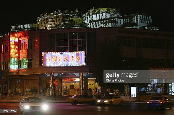 A view of night scene in front of the Potala Palace on November 15 2006 in Lhasa of Tibet Autonomous Region China Chinese tourists are flooding into...