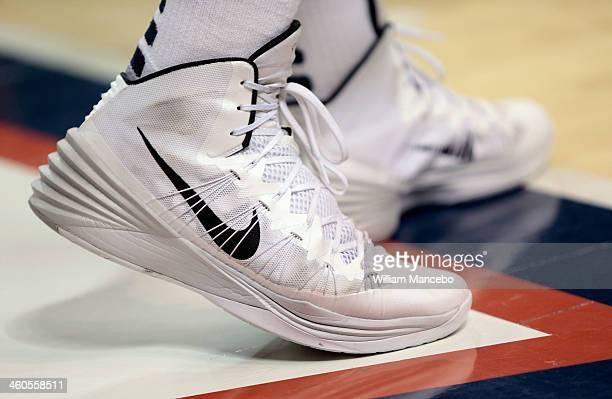 caa520e84e3e ... A view of Nike Hyperdunk basketball shoes and Nike socks worn by player  Przemek Karnowski for ...
