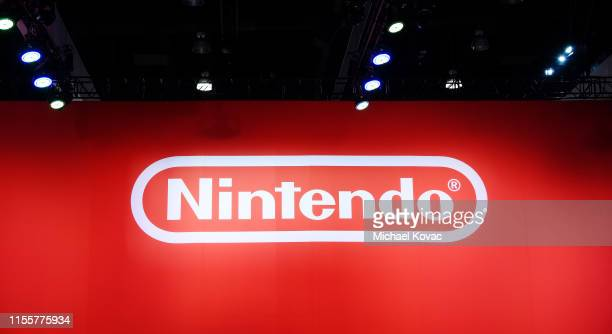 View of Nintendo signage during the 2019 E3 Gaming Convention at the Los Angeles Convention Center on June 13, 2019 in Los Angeles, California.