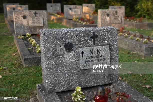 non notus on a war grave of a Polish soldier who died on September 1st seen in Krakow's Rakowicki Cemetery a few days before the 80th anniversary of...