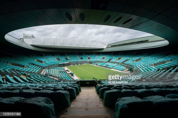View of No.1 Court at the All England Lawn Tennis Club in west London on June 27, 2020 the weekend before the Wimbledon Championships tennis...