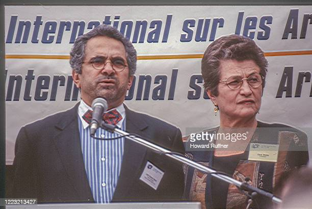 View of Nobel Peace prize-winning East Timorese politician Jose Ramos-Horta and President of the Hague Appeal for Peace Cora Weiss during the Hague...