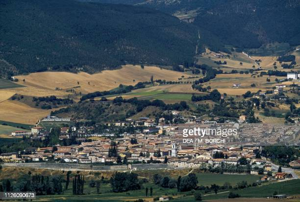 View of Norcia, Monti Sibillini National Park, Umbria, Italy.