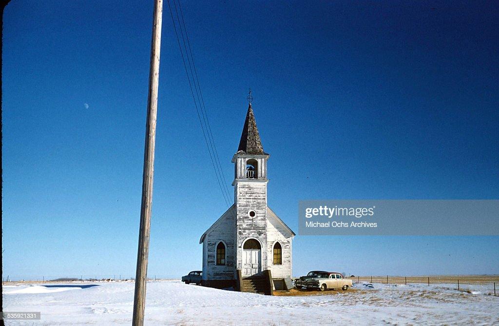 A view of North Dakota scenery of a church in Harvey, North Dakota.