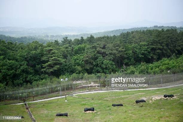 View of North Korea in the Demilitarized Zone June 30 in Panmunjom, Korea.