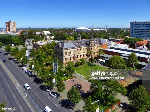 view of north terrace skyline with adelaide oval, adelaide, south australia - adelaide stock pictures, royalty-free photos & images