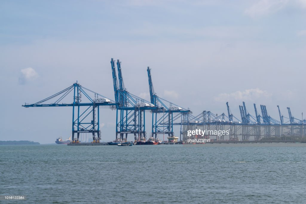 View of Northport of Port Klang, Malaysia. One of the largest multi-purpose ports of its kind in the national ports system offering dedicated facilities and services to handle wide variety of cargoes. : Stock Photo