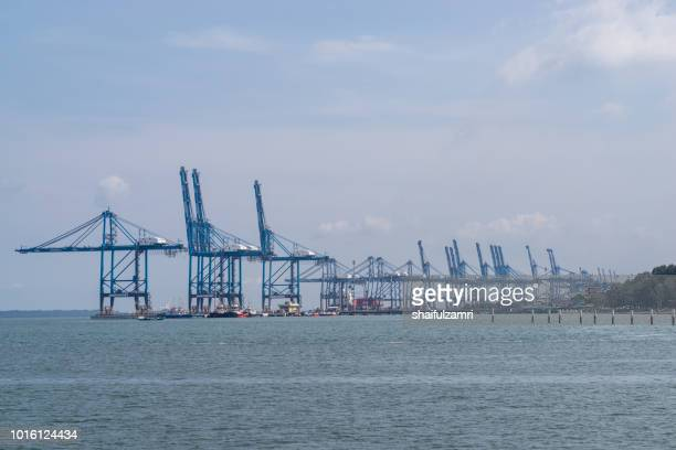 View of Northport of Port Klang, Malaysia. One of the largest multi-purpose ports of its kind in the national ports system offering dedicated facilities and services to handle wide variety of cargoes.