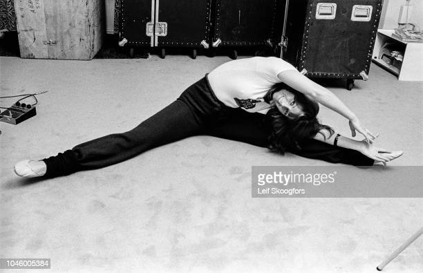 View of Norwegianborn Swedish Pop musician AnniFrid Lyngstad of the group ABBA as she stretches prior to rehersal in Polar Studios Stockholm Sweden...