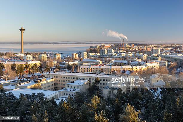 view of näsinneula observation tower&tampere city - tampere finland stock pictures, royalty-free photos & images